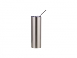 Sublimation 30oz/900ml Stainless Steel Skinny Tumbler w/ Straw & Lid (Silver)