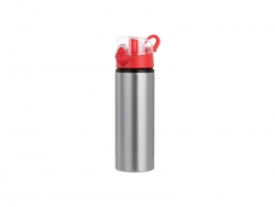 Sublimation 750ml Alu water bottle with Red cap (Silver) MOQ: 2000