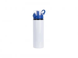 Sublimation 750ml Alu water bottle with Blue cap (White) MOQ: 2000