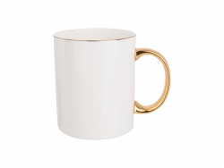 Sublimation 11oz/360ml Gold Rim and Handle Bone China Mug