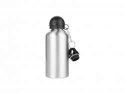 Sublimation Water Bottle 500ml, Silver with Two Caps