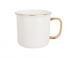 Sublimation 9oz/280ml Gold Rim Handle Bone China Mug