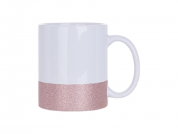 11oz/330ml Sublimation Bottom Glitter Mug (Pink)